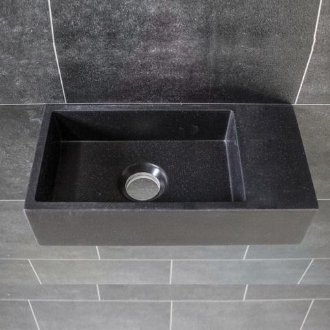 Ink Versus fontein 36cm quartz zwart - zonder kraangat - rechts