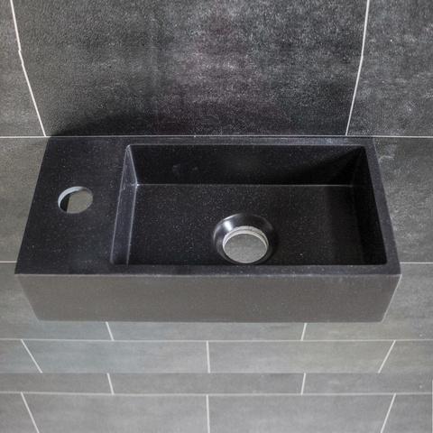 Ink Versus fontein 36cm quartz zwart - met kraangat - links
