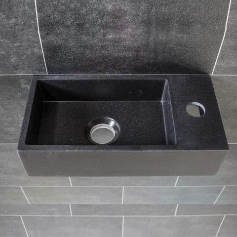 Ink Versus fontein 36cm quartz zwart - met kraangat - rechts