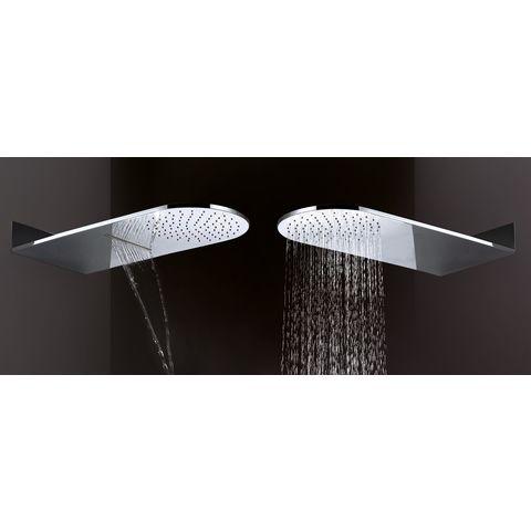 Wiesbaden Caral hoofddouche met watervalfunctie 25x60cm rond chroom
