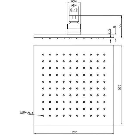Wiesbaden Rombo hoofddouche vierkant 20cm chroom