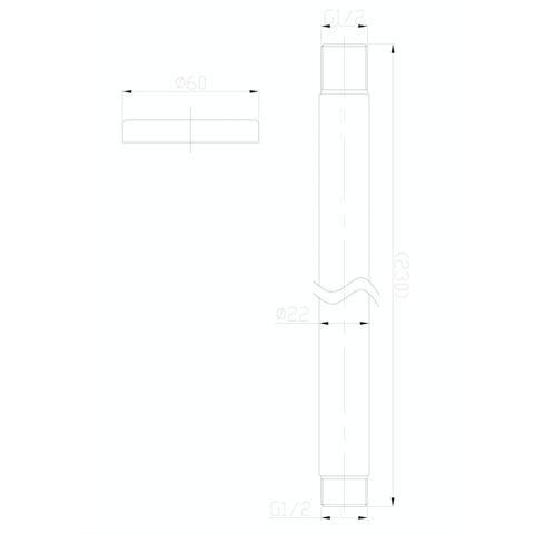 Wiesbaden Caral plafondbuis voor hoofddouche rond 20cm RVS