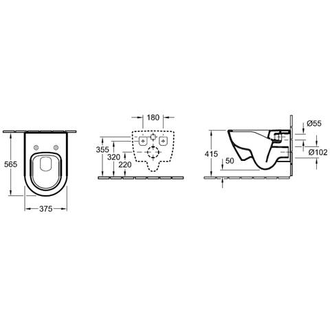Villeroy & Boch Subway 2.0 DirectFlush toiletset met Tece reservoir/bedieningsplaat glans-chroom
