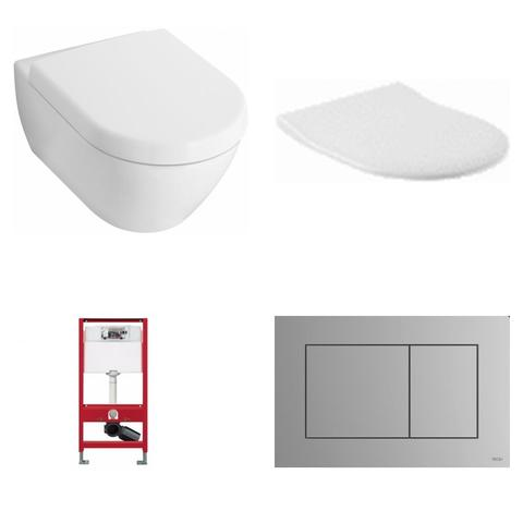 Villeroy & Boch Subway 2.0 toiletset met Tece reservoir/bedieningsplaat mat-chroom