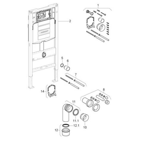 Villeroy & Boch O.novo toiletset CeramicPlus met Geberit UP320 reservoir/bedieningsplaat mat-chroom