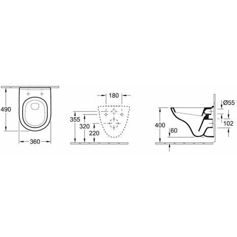 Villeroy & Boch O.novo toiletset Compact met Geberit ruimtewinnend reservoir/bedieningsplaat mat-chroom