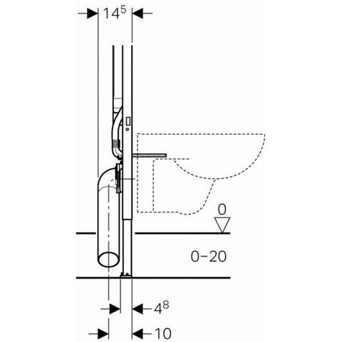 Villeroy & Boch O.novo toiletset Compact met Geberit ruimtewinnend reservoir/bedieningsplaat glans-chroom
