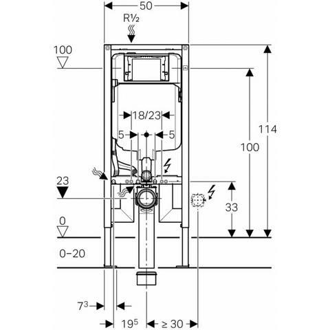Villeroy & Boch O.novo toiletset Compact CeramicPlus met Geberit ruimtewinnend reservoir/bedieningsplaat glans-chroom