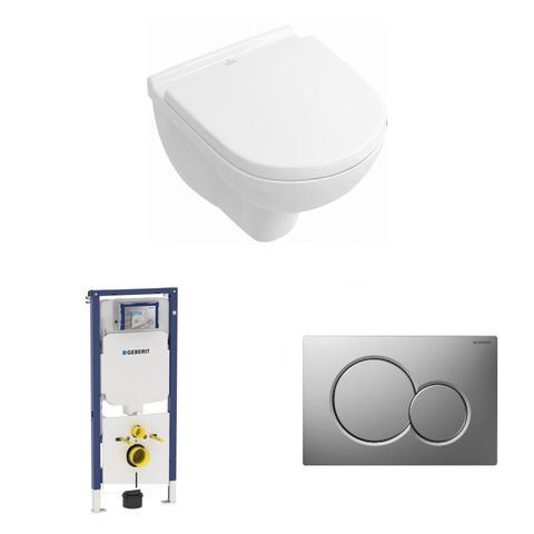 Villeroy & Boch O.novo toiletset Compact DirectFlush met Geberit ruimtewinnend reservoir/bedieningsplaat mat-chroom