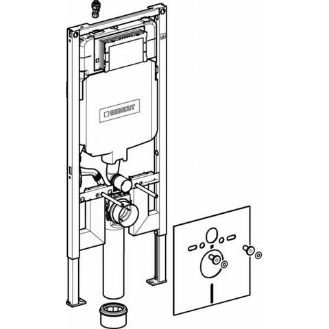 Villeroy & Boch Architectura toiletset Compact DirectFlush met Geberit ruimtewinnend reservoir/bedieningsplaat mat-chroom