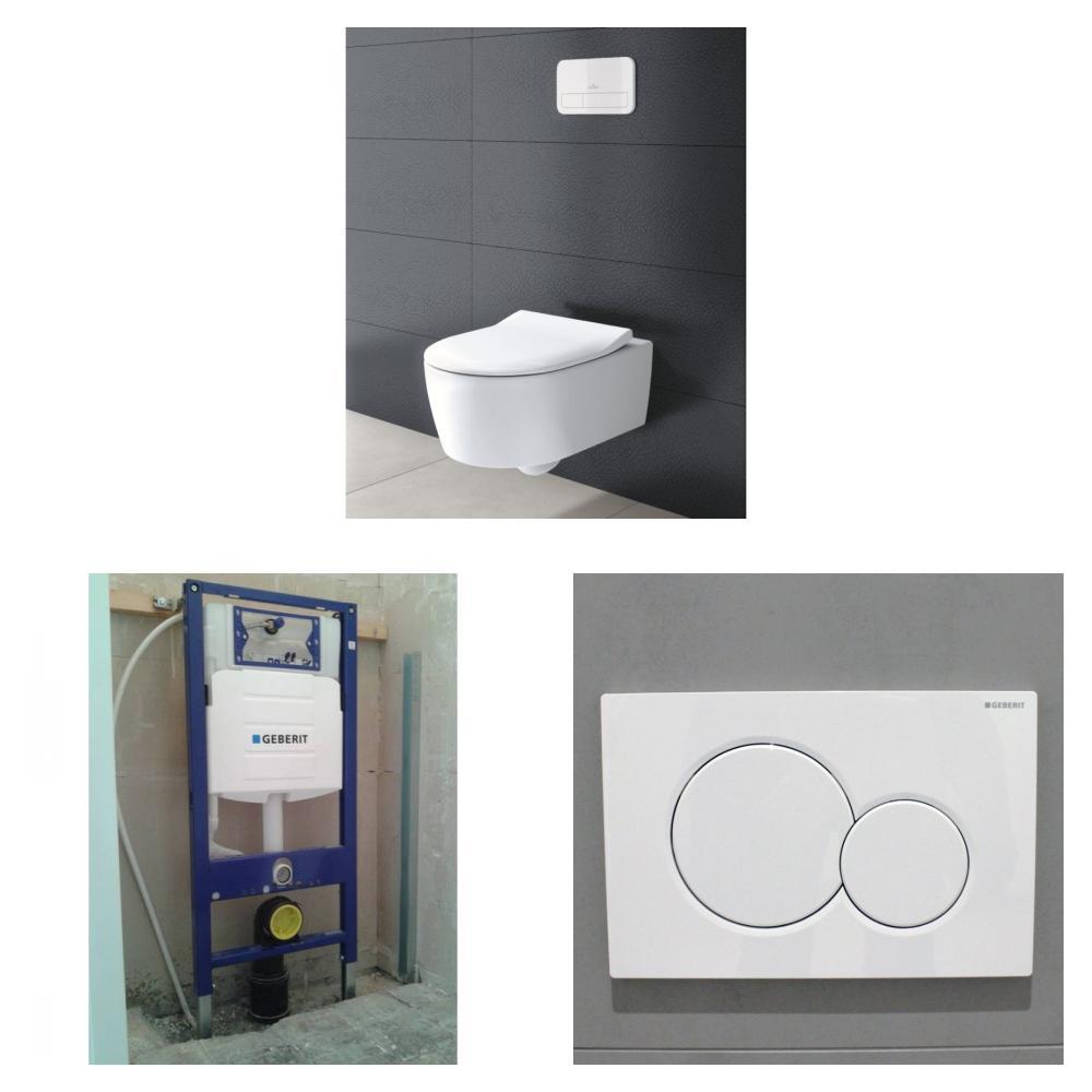 Villeroy & Boch Avento toiletset DirectFlush met Geberit UP320 reservoir/bedieningsplaat glans-wit