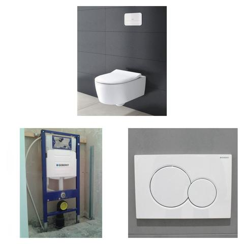 Villeroy & Boch Avento toiletset DirectFlush met Geberit UP320 reservoir/bedieningsplaat glans-wit