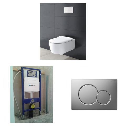 Villeroy & Boch Avento toiletset DirectFlush met Geberit UP320 reservoir/bedieningsplaat mat-chroom