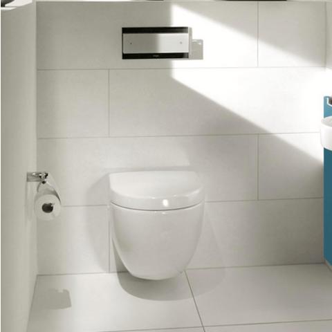 Villeroy & Boch Subway 2.0 toiletset Compact met Geberit ruimtewinnend reservoir/bedieningsplaat glans-chroom