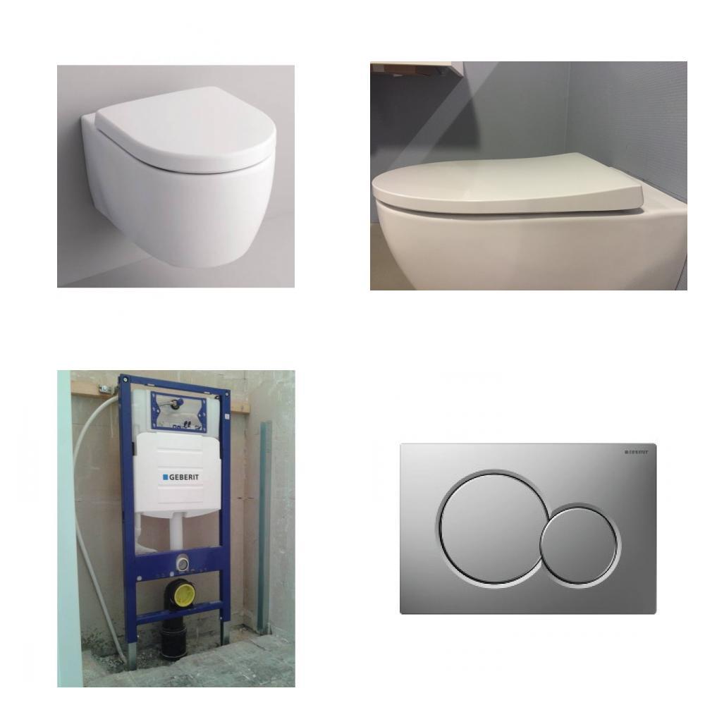 Sphinx 345 toiletset met Geberit UP320 reservoir/bedieningsplaat mat-chroom