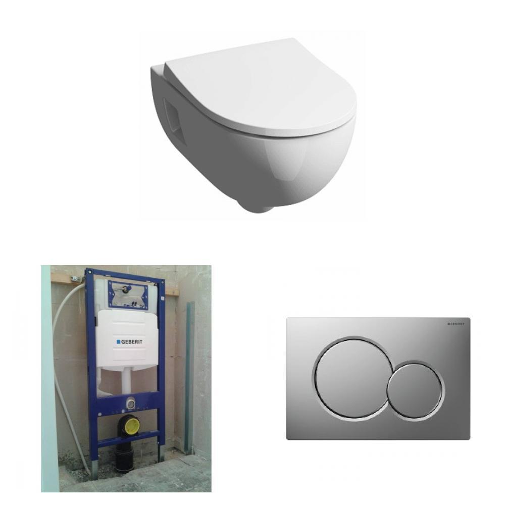 Sphinx 300 Basic toiletset Rimfree met Geberit UP320 reservoir/bedieningsplaat mat-chroom