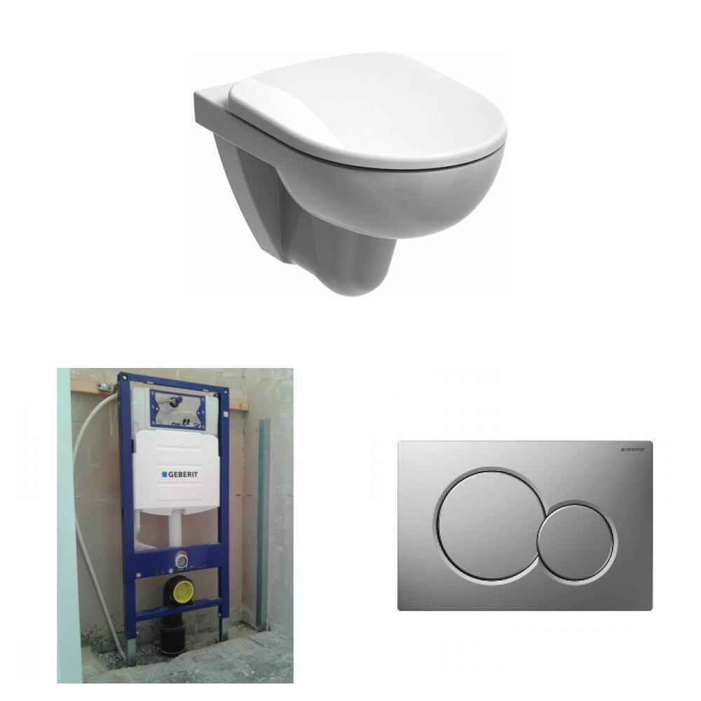 Sphinx 280 toiletset Rimfree met Geberit UP320 reservoir/bedieningsplaat mat-chroom