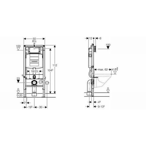 Geberit 280 Basic toiletset Rimfree met UP320 reservoir/bedieningsplaat mat-chroom