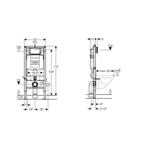 Geberit 280 Basic toiletset Rimfree met UP320 reservoir/bedieningsplaat glans-chroom