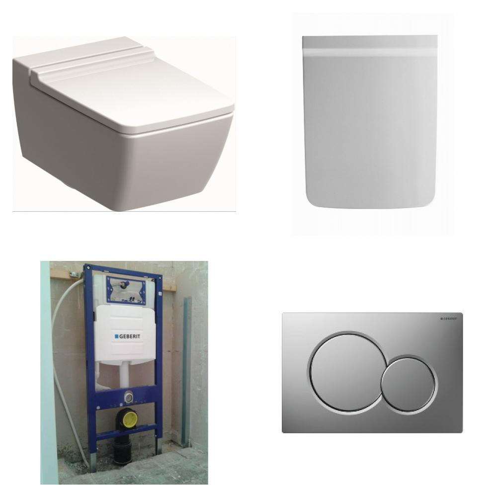 Sphinx 420 toiletset Rimfree met Geberit UP320 reservoir/bedieningsplaat mat-chroom