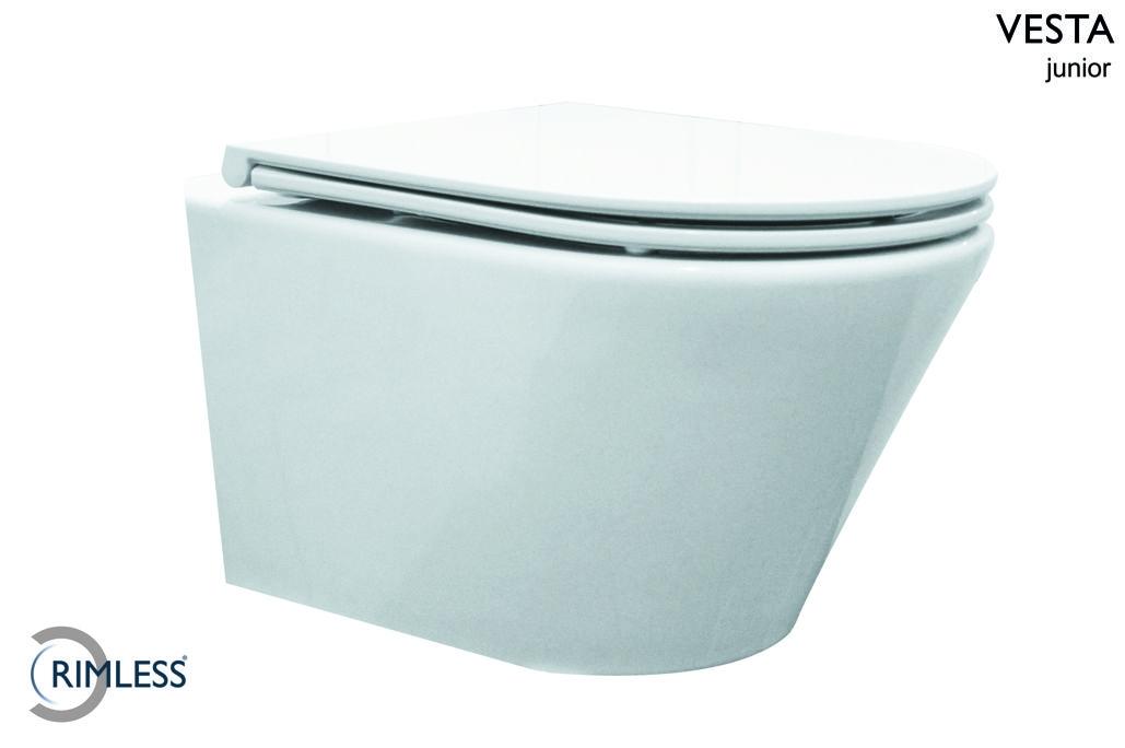 Wiesbaden Vesta hangtoilet wit Compact Rimless met SlimSeat zitting SC
