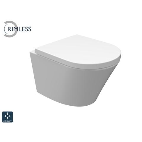 Wiesbaden Vesta hangtoilet wit Compact Rimless met zitting SC