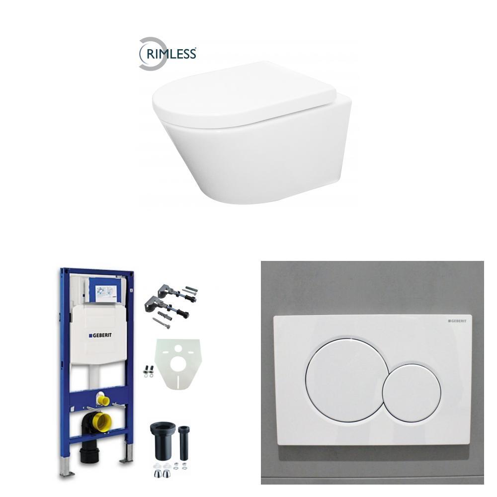 Wiesbaden Vesta toiletset Rimless - met standaard zitting - met Geberit UP320 reservoir/bedieningsplaat glans-wit