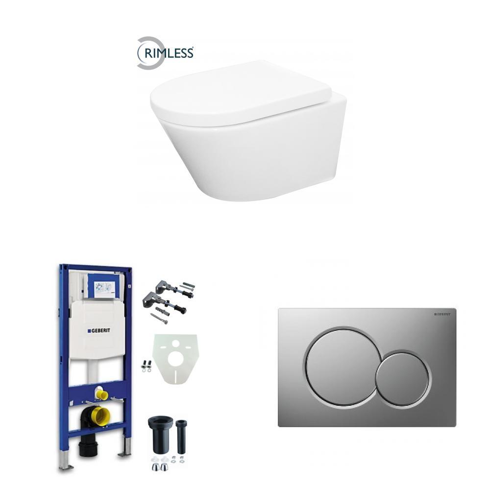 Wiesbaden Vesta toiletset Rimless - met standaard zitting - met Geberit UP320 reservoir/bedieningsplaat mat-chroom