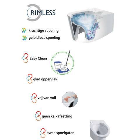 Wiesbaden Vesta toiletset Rimless - met standaard zitting - met Geberit UP320 reservoir/bedieningsplaat glans-chroom