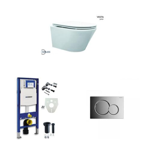 Wiesbaden Vesta toiletset Compact Rimless - met SlimSeat zitting - met Geberit UP320 reservoir/bedieningsplaat glans-chroom