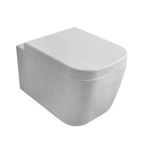 Globo Stone hangtoilet verkort 45cm met zitting SC - glans wit