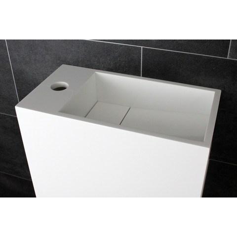 Luca Sanitair  fontein met open schap rechts 35x18,5x32h in solid surface met verdekte afvoer, kraangat links  mat wit