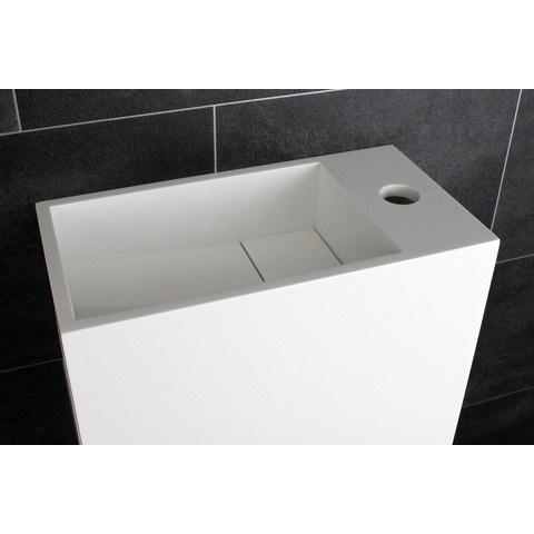 Luca Sanitair  fontein met open schap links 35x18,5x32h in solid surface met verdekte afvoer, kraangat rechts  mat wit