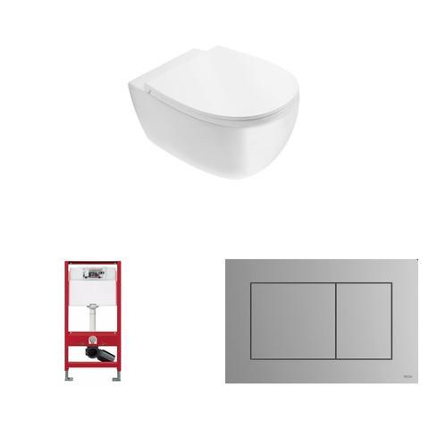 Globo 4ALL toiletset Rimless mat wit met Tece reservoir/bedieningsplaat mat chroom