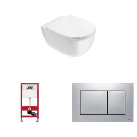 Globo 4ALL toiletset Rimless met Tece reservoir/bedieningsplaat glans chroom