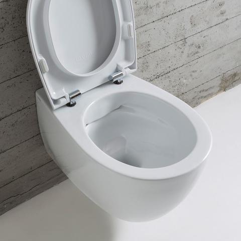 Globo 4ALL toiletset Rimless mat wit met Tece reservoir/bedieningsplaat glans zwart