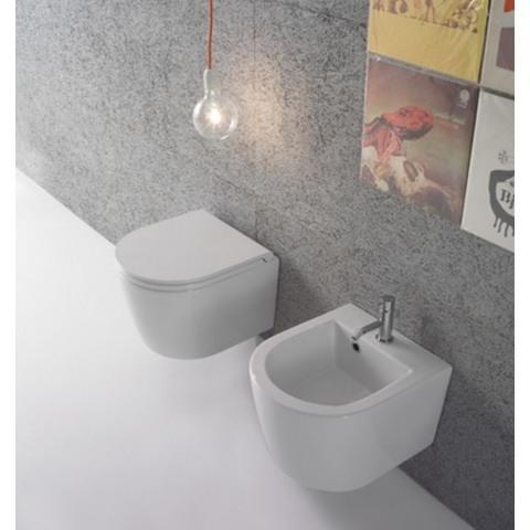 Globo Forty3 toiletset Compact 43cm met Tece reservoir/bedieningsplaat glans-wit