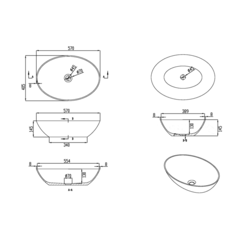 Luca Sanitair  opzetwastafel ovaal 57x40,5x14,2h rand dikte 8mm van solid surface camoscio