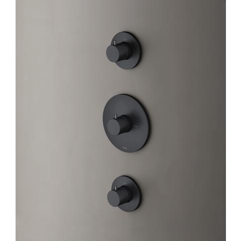 Hotbath Cobber CB007EXT afbouwdeel voor inbouw thermostaat met 2 stopkranen mat zwart