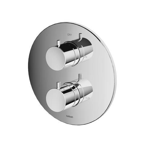 Hotbath Cobber CB009EXT afbouwdeel voor inbouw thermostaat met 2-weg omstel geborsteld nikkel