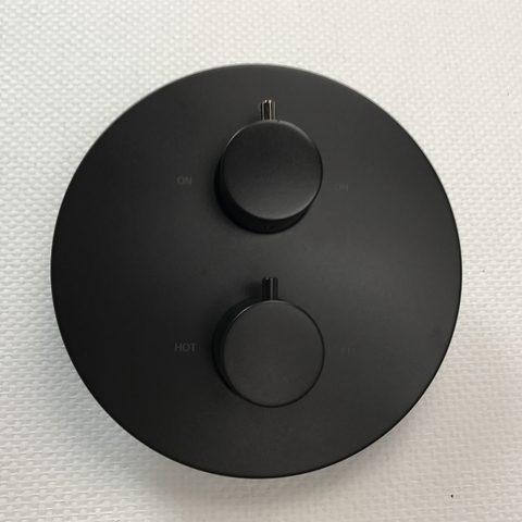Hotbath Cobber CB009EXT afbouwdeel voor inbouw thermostaat met 2-weg omstel mat zwart