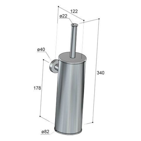 Hotbath Cobber CBA11 toiletborstelhouder wandmodel mat-zwart