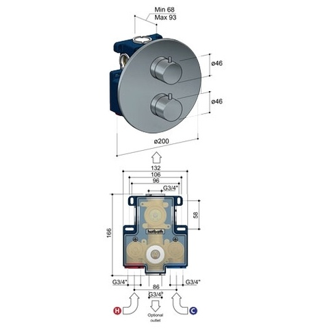 Hotbath Buddy B013EXT afbouwdeel voor inbouw thermostaat met 1 stopkraan geborsteld nikkel