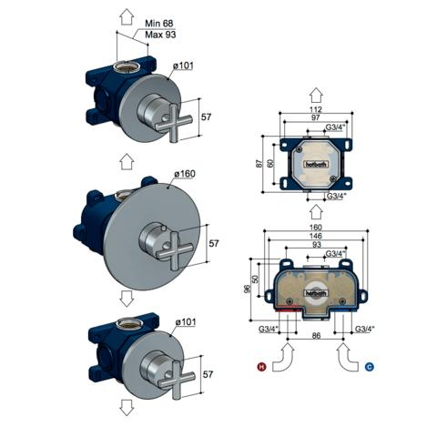 Hotbath Chap C007EXT afbouwdeel voor inbouw thermostaat met 2 stopkranen chroom