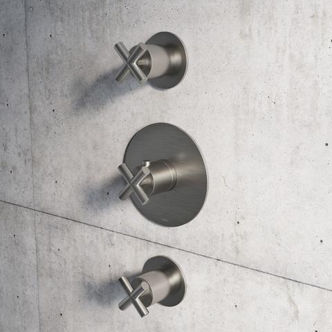 Hotbath Chap C007EXT afbouwdeel voor inbouw thermostaat met 2 stopkranen geborsteld nikkel