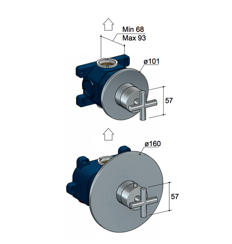 Hotbath Chap C012EXT afbouwdeel voor inbouw thermostaat met 1 stopkraan geborsteld nikkel