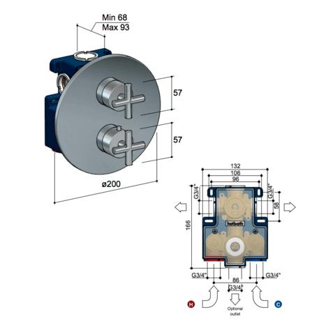 Hotbath Chap C009EXT afbouwdeel voor inbouw thermostaat met 2-weg omstel chroom