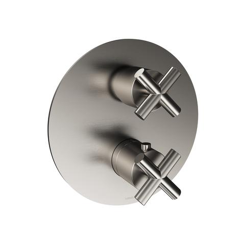 Hotbath Chap C009EXT afbouwdeel voor inbouw thermostaat met 2-weg omstel geborsteld nikkel