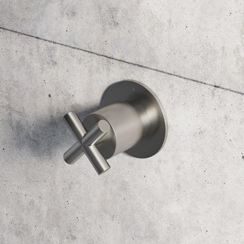 Hotbath Chap C010EXT afbouwdeel voor inbouw stopkraan geborsteld nikkel