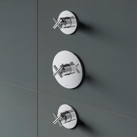 Hotbath Chap C007 inbouw thermostaat met twee stopkranen chroom